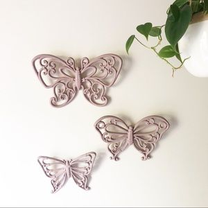 Vintage Homco Pink Butterfly Wall Decor Set